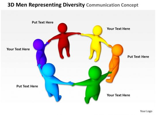 3d Men Representing Diversity Communication Ppt Graphics