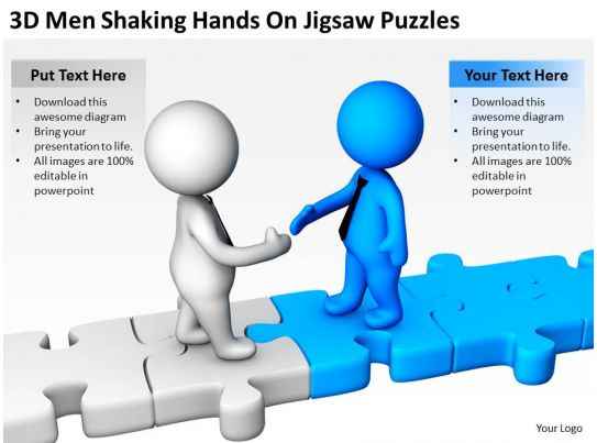 D Men Shaking Hands On Jigsaw Puzzles Ppt Graphics Icons Powerpoint - Jigsaw graphic for powerpoint