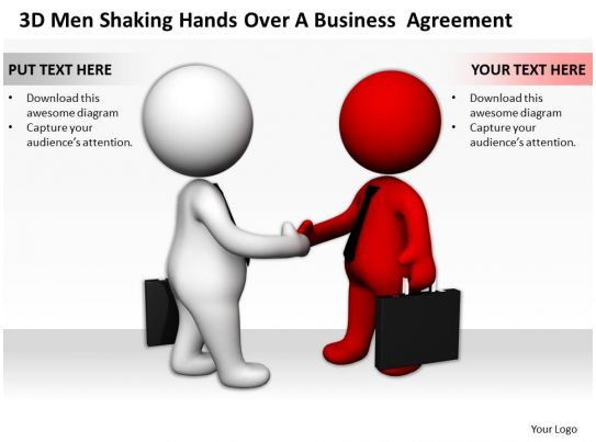 3d men shaking hands over a business agreement ppt