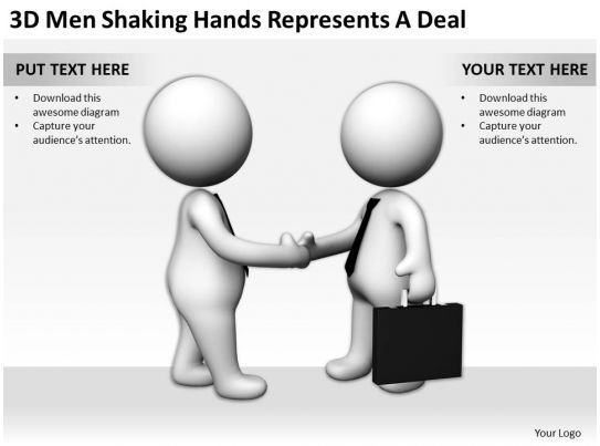 3d Men Shaking Hands Represents A Deal Ppt Graphics Icons