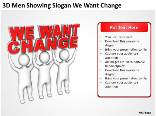 3d men showing slogan we want change ppt graphics icons