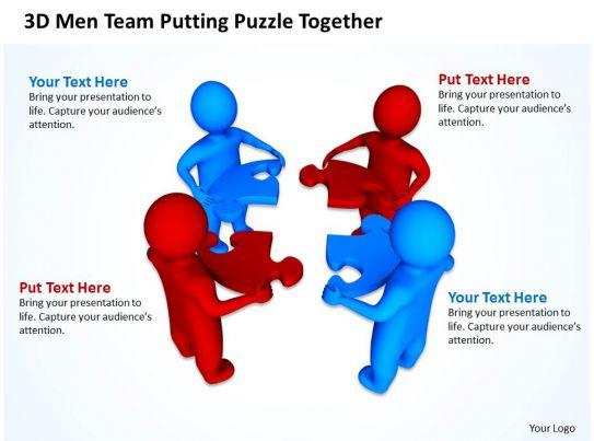 3d Men Team Putting Puzzle Together Communication Concept