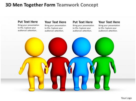 3d men together form teamwork concept ppt graphics icons