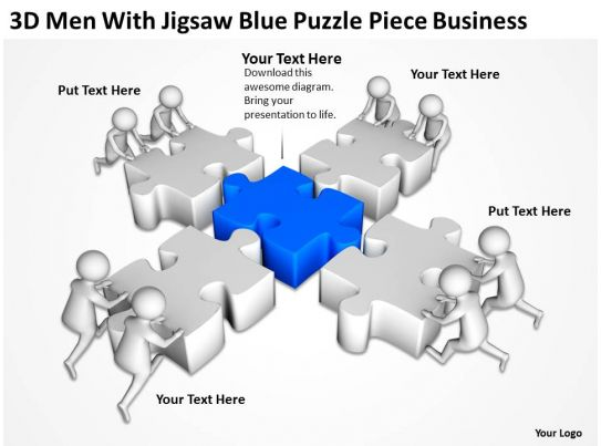 D Men With Jigsaw Blue Puzzle Piece Business Ppt Graphics Icons - Jigsaw graphic for powerpoint