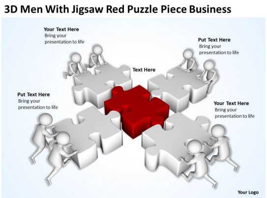 3d men with jigsaw red puzzle piece business ppt graphics