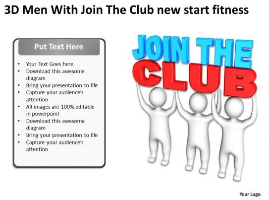 3d men with join the club new start fitness ppt graphic for Key club powerpoint template