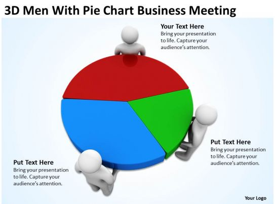 3d men with pie chart business meeting ppt graphics icons