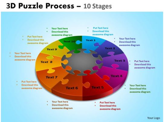 19872382 Style Division Pie Puzzle 10 Piece Powerpoint Template
