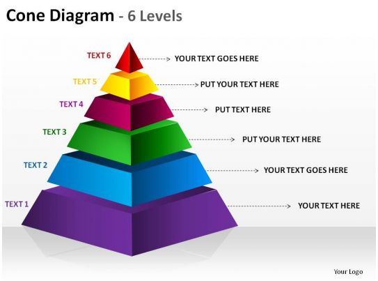 3d pyramid cone diagram 6 levels split separated ppt