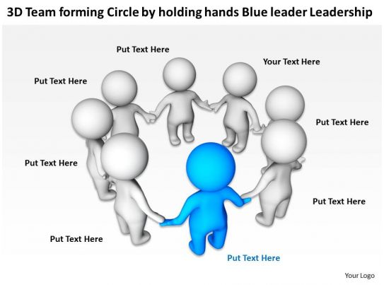 3D Team Forming Circle By Holding Hands Blue Leader