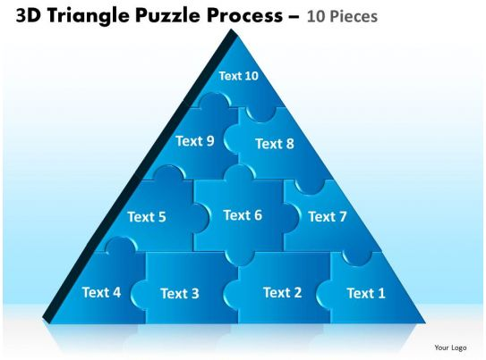 3D Triangle Puzzle Process 10 Pieces Powerpoint Slides And ...