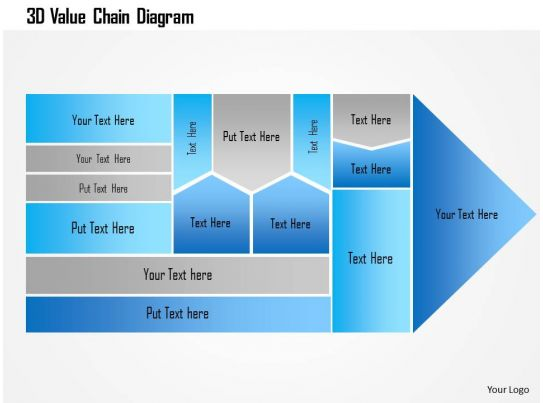 3d value chain diagram powerpoint template presentation