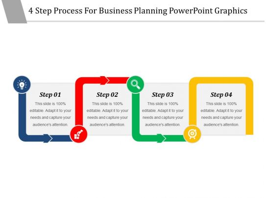 4 step process for business planning powerpoint graphics