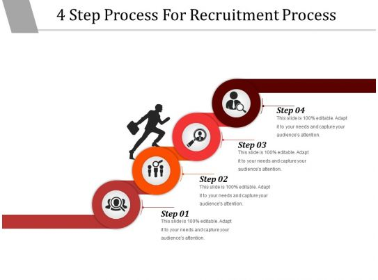 4 Step Process For Recruitment Process Powerpoint Layout