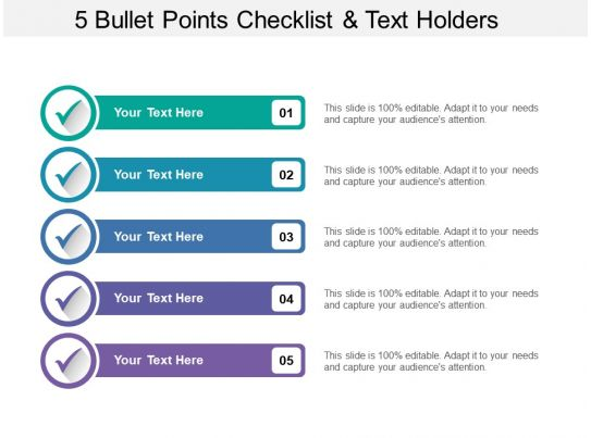 5 bullet points checklist and text holders
