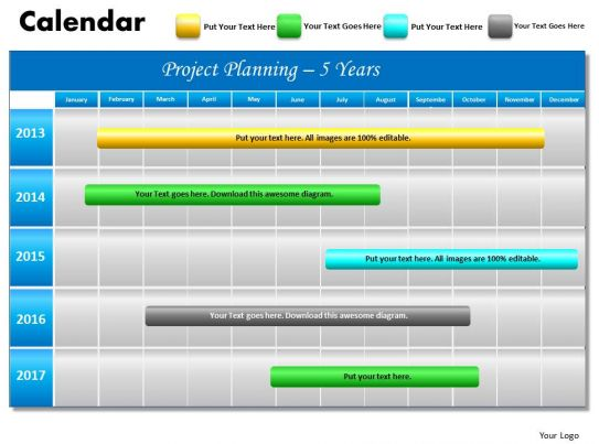 5 Year Planning Gantt Chart Powerpoint Slides Gantt Ppt