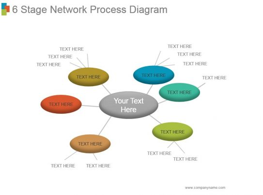 6 Stage Network Process Diagram Powerpoint Slide