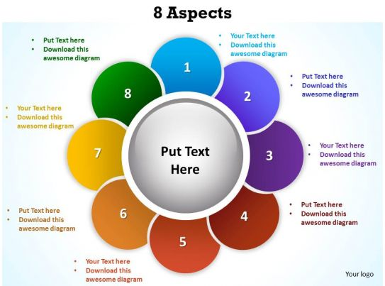 8 aspects shown by flower petals powerpoint diagram templates