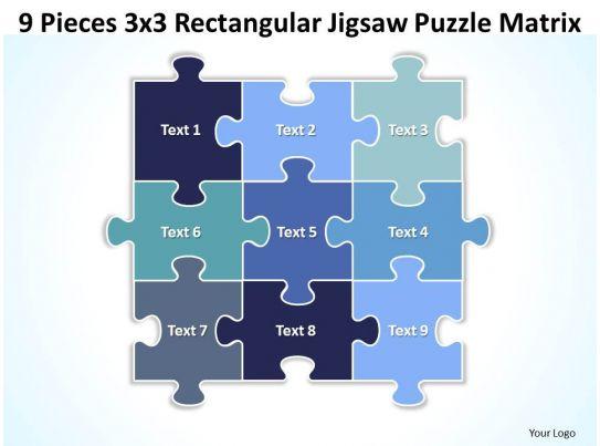 9 pieces 3x3 rectangular jigsaw puzzle matrix