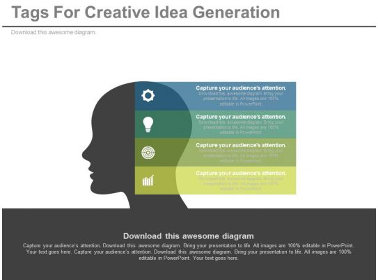 a Four Tags For Creative Idea Generation Flat Powerpoint