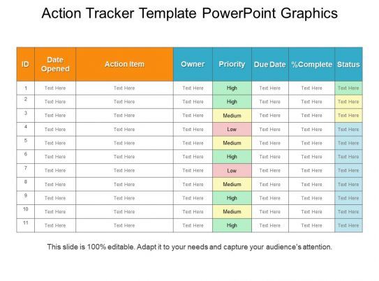 Action tracker template powerpoint graphics powerpoint for Action item tracker template