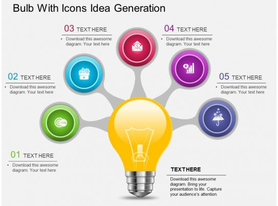 Af Bulb With Icons Idea Generation Powerpoint Template