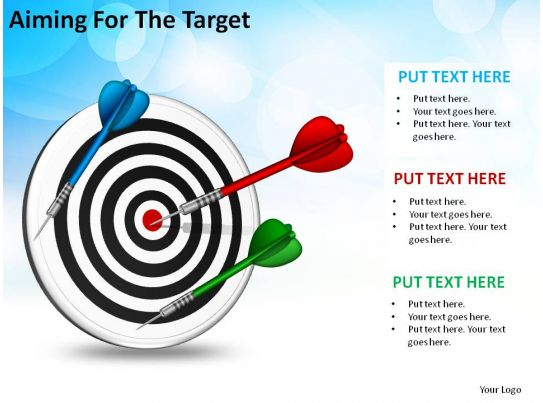 Aiming for the target bullseye with darts arrows business for Bullseye chart template