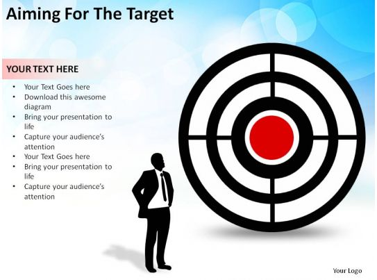 aiming for the target man with bullseye business concept