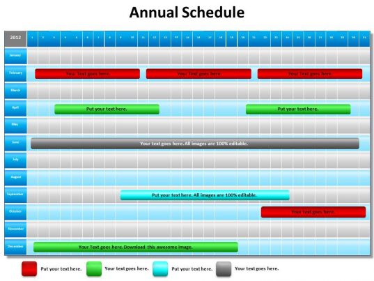 annual schedule shown by gantt chart powerpoint diagram templates graphics 712. Black Bedroom Furniture Sets. Home Design Ideas