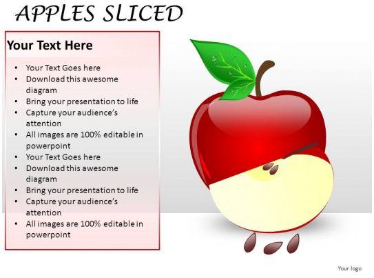 apples sliced powerpoint presentation slides   powerpoint, Presentation templates
