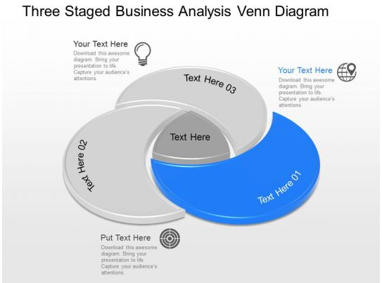 apt three staged business analysis venn diagram powerpoint template. Black Bedroom Furniture Sets. Home Design Ideas