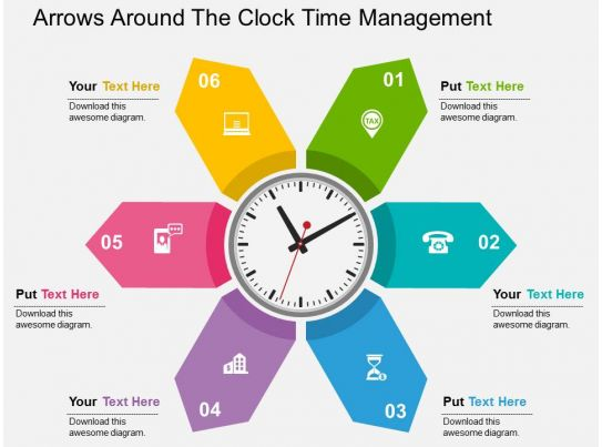 Arrows Around The Clock Time Management Flat Powerpoint