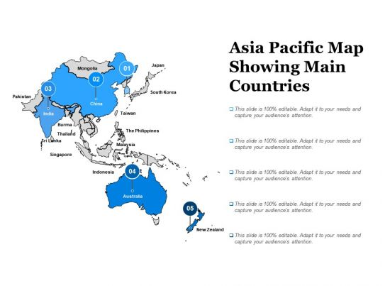 asia pacific map showing main countries