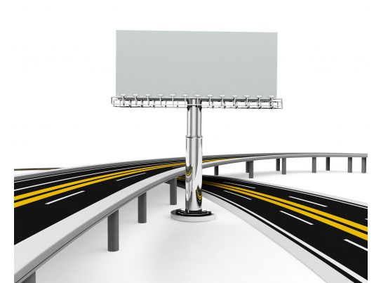 Asphalted Road And Billboard Stock Photo Presentation