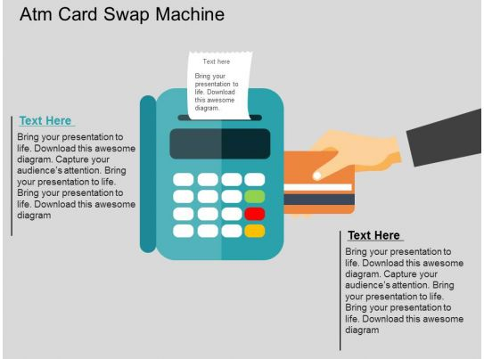 atm card swap machine flat powerpoint design