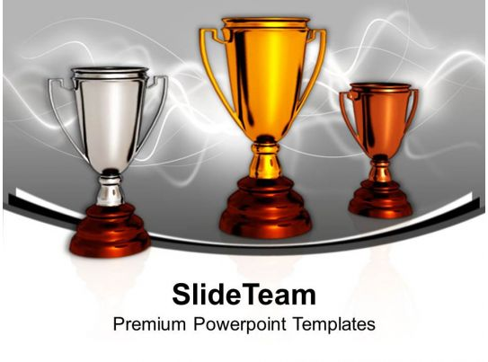 award winner trophies success sports powerpoint templates ppt themes