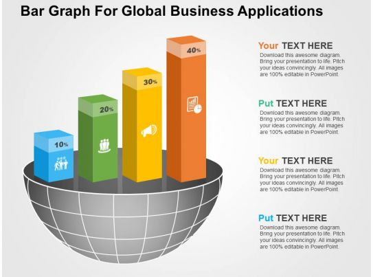 bar graph for global business applications flat powerpoint