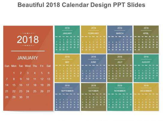 Monthly Schedule Calendar Design Of 2018 Ppt Slides | Powerpoint