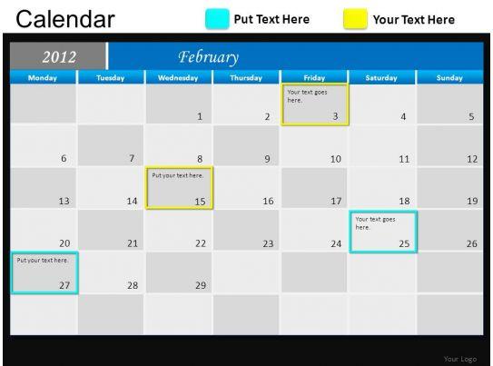Calendar Art For Powerpoint : Blue calendar powerpoint presentation slides db