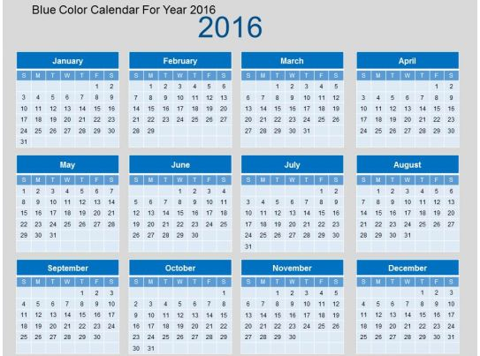 blue color calendar for year 2016 flat powerpoint design powerpoint slide presentation sample. Black Bedroom Furniture Sets. Home Design Ideas