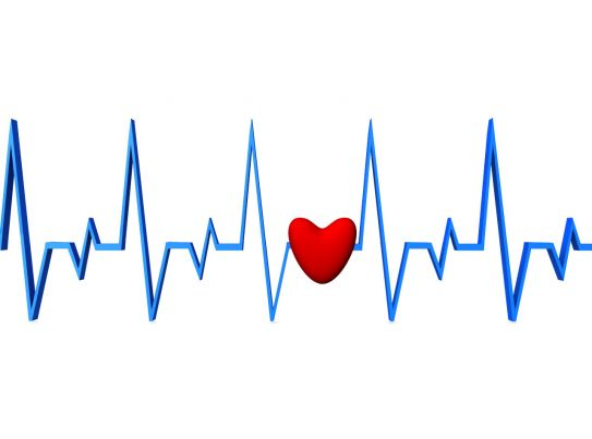 blue color ecg graph with red heart stock photo