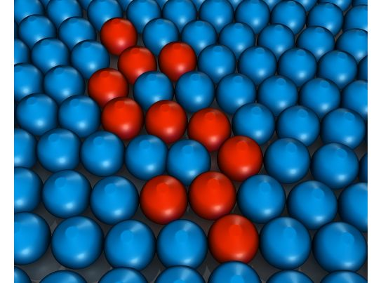 blue colored metal balls with few red balls in between