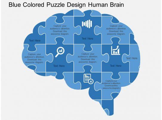 Blue Colored Puzzle Design Human Brain Flat Powerpoint ...