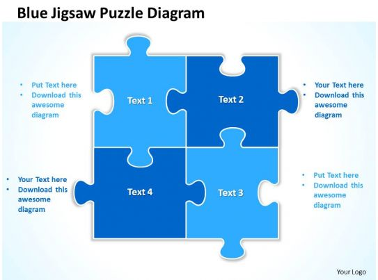 Blue Jigsaw Puzzle Diagram Powerpoint templates ppt presentation ...