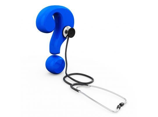 Blue Question Mark With Stethoscope Stock Photo