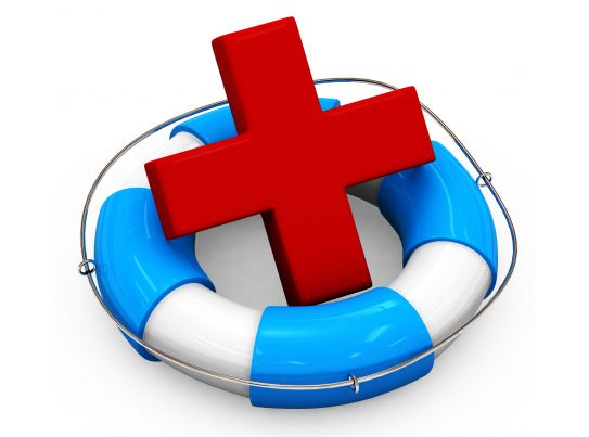 Blue White Life Saving Ring With Medical Symbol Stock