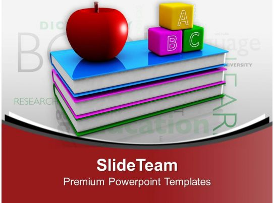 Books with apple and blocks education theme powerpoint for Apple product book