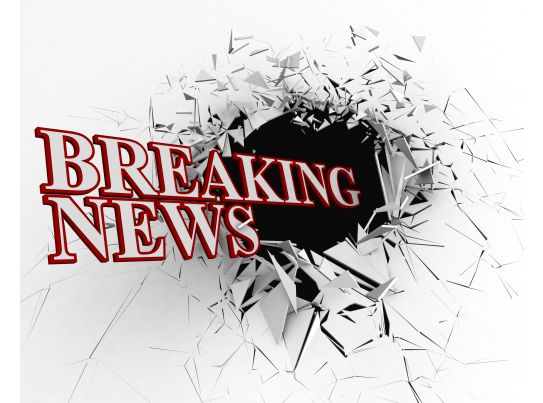 breaking news text with 3d crack background stock photo