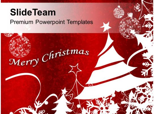 bright red merry christmas background powerpoint templates