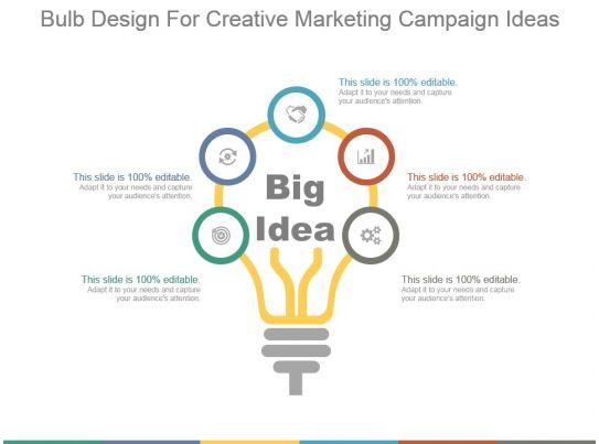 Bulb Design For Creative Marketing Campaign Ideas Ppt